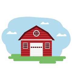 Red farm building vector