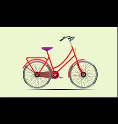 red ladies bike vector image