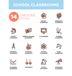 School classrooms - modern simple icons vector