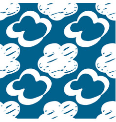 seamless drawn cloud pattern brush painted clouds vector image