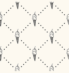 seamless pattern with monocrome ice cream vector image
