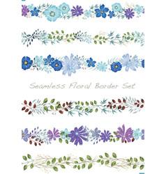 seamless watercolor floral border set vector image