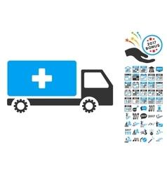 Service Car Icon With 2017 Year Bonus Pictograms vector image