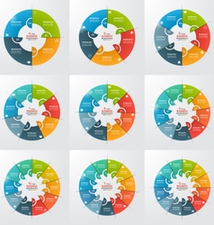 set 4 12 steps pie chart circle infographic vector image