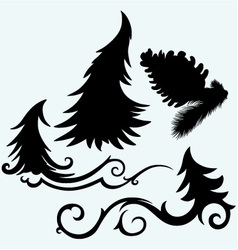 Set christmas trees and pine cone vector image