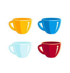 set empty colored cups icons vector image