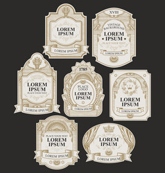 set hand-drawn labels on black vector image