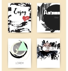 Set of abstract modern autumn flyers vector