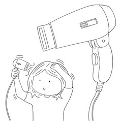 set of hair dryer vector image