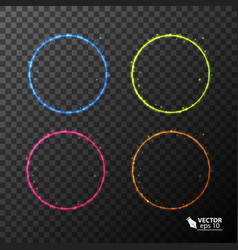 Set of neon circles different colors vector