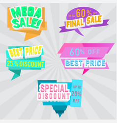 set sale labels and banner colorful design vector image