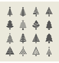 Silhouette christmas tree icons set vector