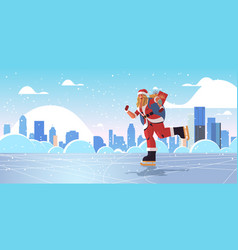 Skating woman in santa claus costume with sack vector
