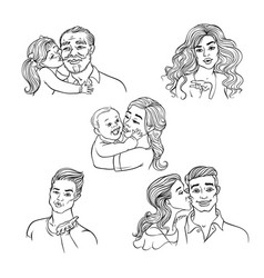 sketch happy family hugs kisses set vector image