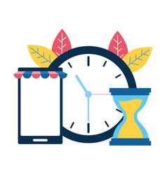 smartphone clock hourglass vector image