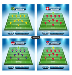 soccer team player plan group e with flags vector image