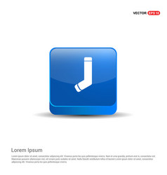 socks icon - 3d blue button vector image