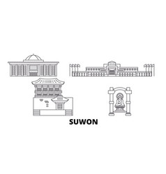 South korea suwon line travel skyline set south vector