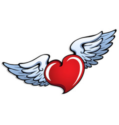 stylized heart with wings 1 vector image