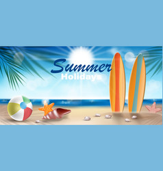 summer holidays in beach seashore banner design vector image