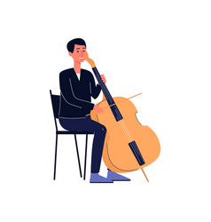 symphonic orchestra musician with double bass or vector image