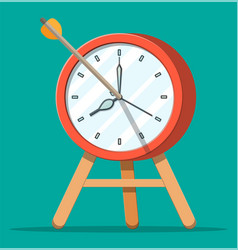 Target with bow arrow and clock vector