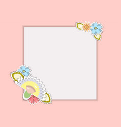 template for postcardinvitation with bouquets vector image