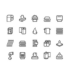 Towels and napkins line icons paper tissues vector