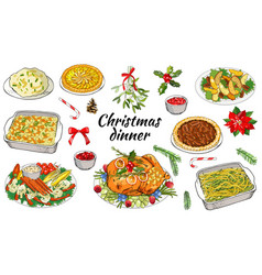 Traditional christmas dishes vector