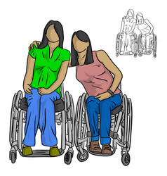 two disable women sitting on wheelchair vector image
