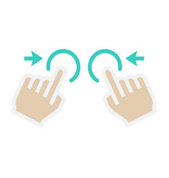 two hand zoom out flat icon touch and gesture vector image