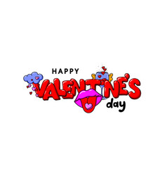 valentine s day card with red lettering glass of vector image