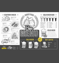 Vintage beer menu design restaurant menu vector