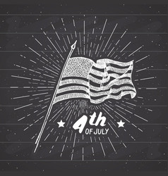 Vintage label hand drawn usa flag happy vector
