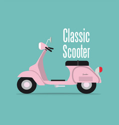 vintage pink classic scooter of vector image