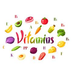 Vitamin food sources vector
