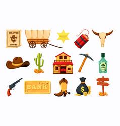 West wild set saloon bar cowboy hat sheriff star vector