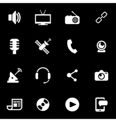 White media icon set vector