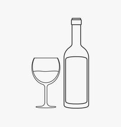 wine bottle glass flat black outline design icon vector image