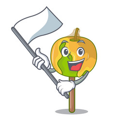 With flag candy apple mascot cartoon vector