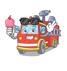 With ice cream fire truck character cartoon vector