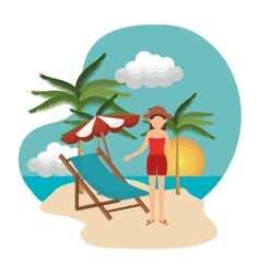Woman relax in the chair beach vector