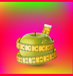 Yellow fresh apple green measuring tape diet vector