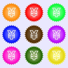 Yen JPY icon sign A set of nine different colored vector image