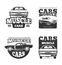 Classic muscle car vintage labels logo vector image