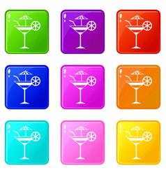 fruit cocktail set 9 vector image