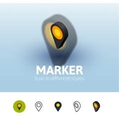 Marker icon in different style vector image vector image