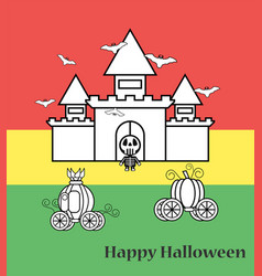 pumpkin carriage with castle for halloween vector image