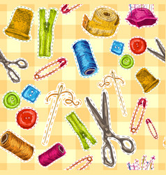 Sewing sketch seamless pattern vector image