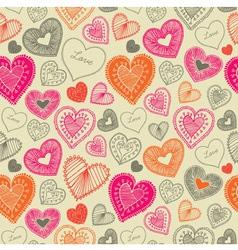 Vintage Doodle Love Pattern vector image vector image